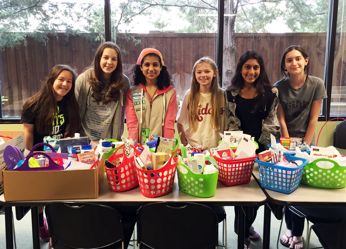 Girl Scout Troop 3458, from Frankfort Middle School in Plano, made 27 gift baskets for the women's shelters for Mother's Day.